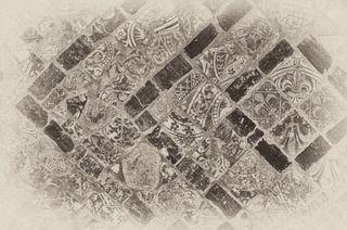Old mediaeval tiled floor bw
